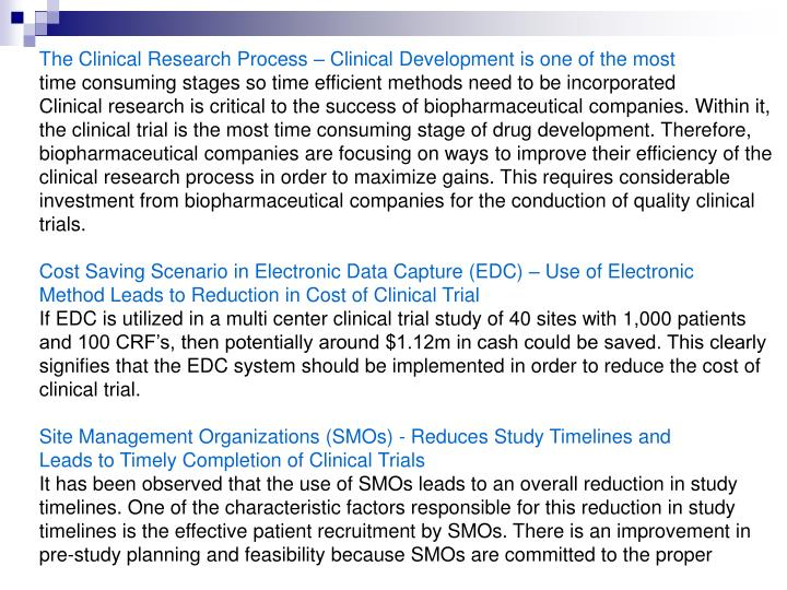 The Clinical Research Process – Clinical Development is one of the most