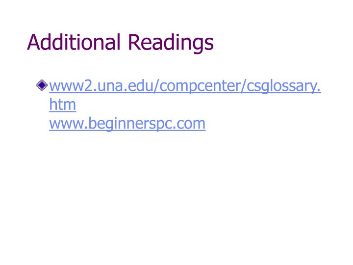 Additional Readings
