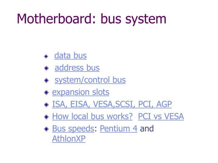 Motherboard: bus system