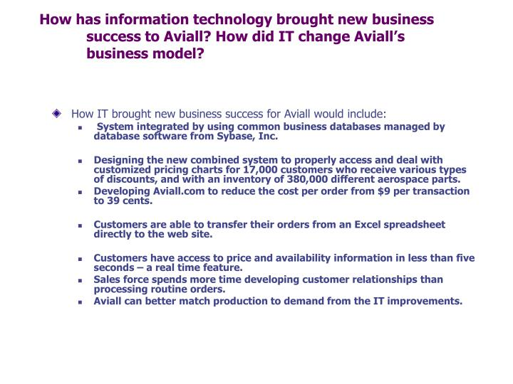 How has information technology brought new business success to Aviall? How did IT change Aviall's business model?