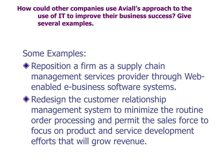 How could other companies use Aviall's approach to the use of IT to improve their business success? Give several examples.