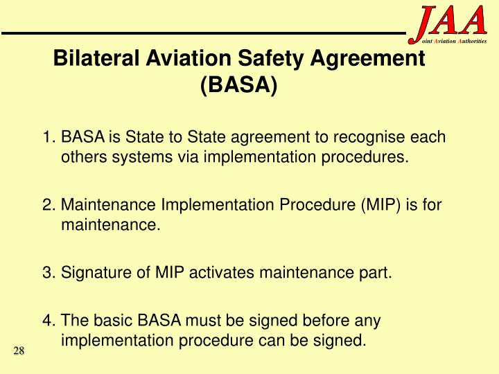 Bilateral Aviation Safety Agreement (BASA)