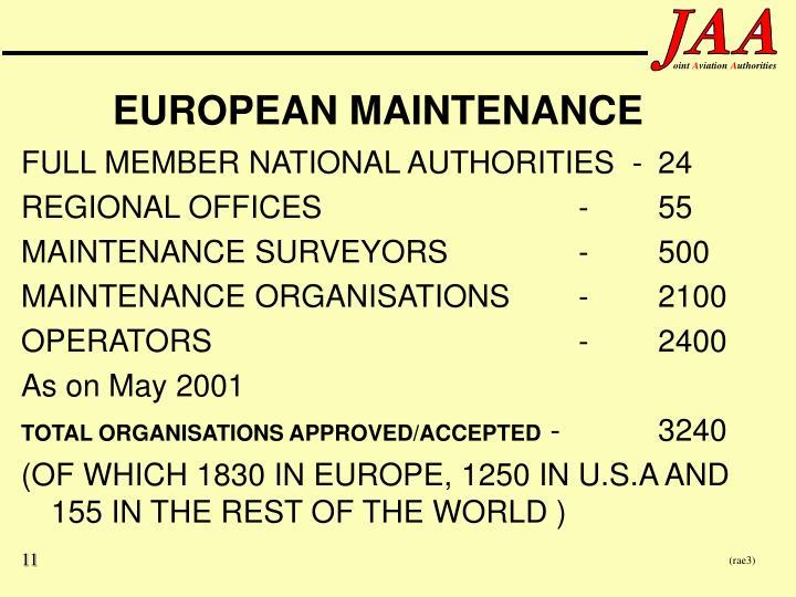 EUROPEAN MAINTENANCE
