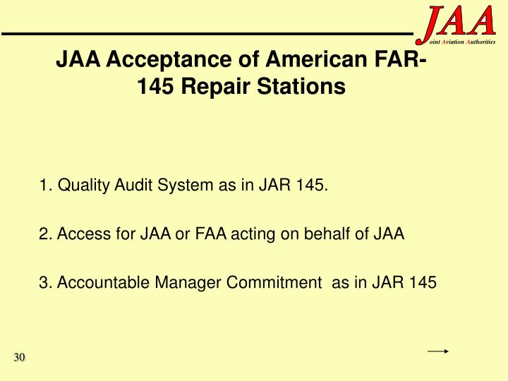 JAA Acceptance of American FAR-145 Repair Stations