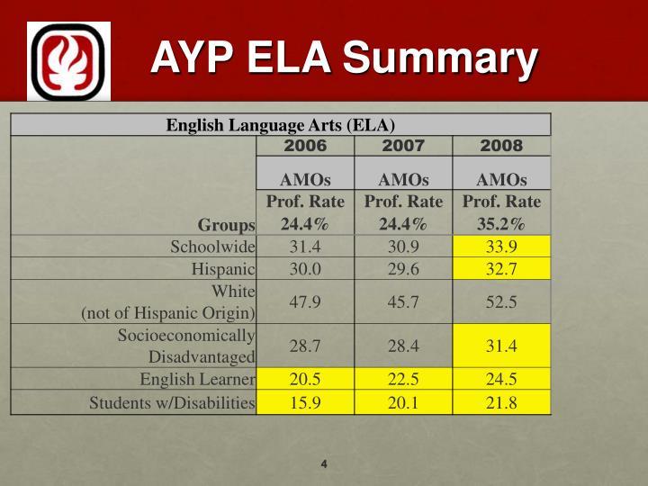 AYP ELA Summary