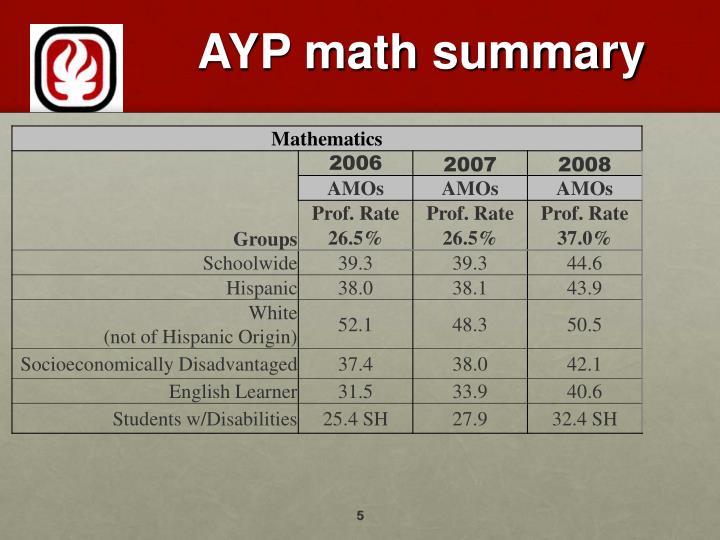 AYP math summary
