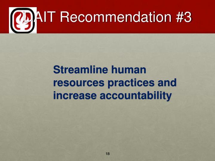 DAIT Recommendation #3