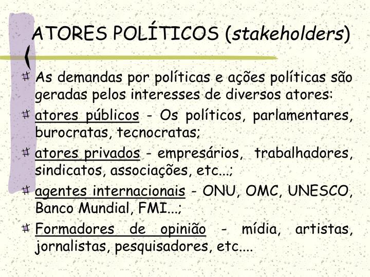 ATORES POLÍTICOS (
