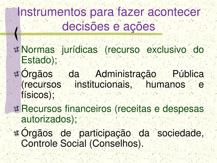Instrumentos para fazer acontecer decisões e ações