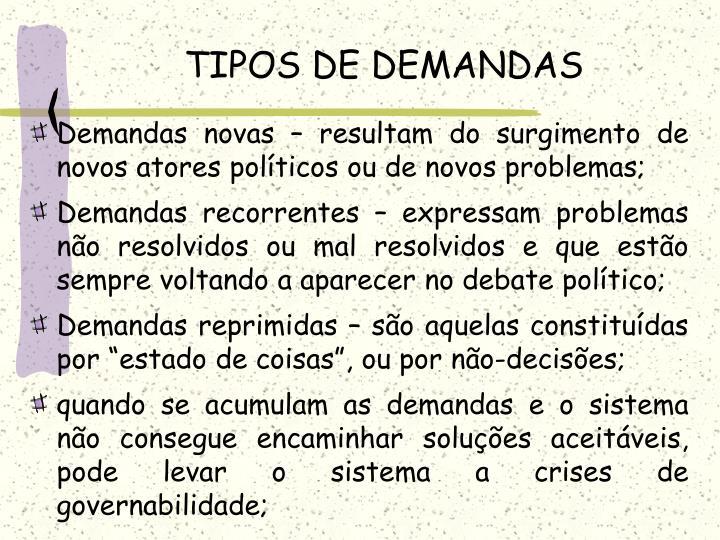 TIPOS DE DEMANDAS