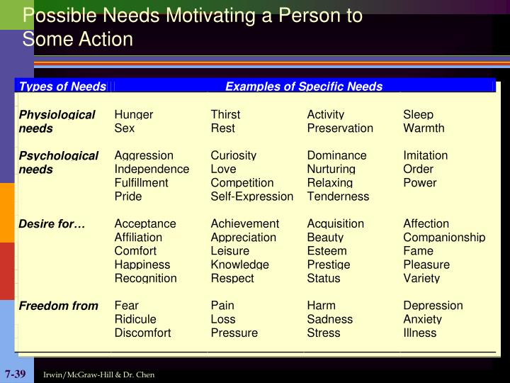 Possible Needs Motivating a Person to