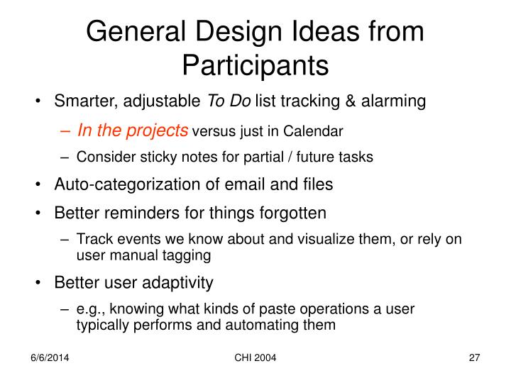 General Design Ideas from Participants