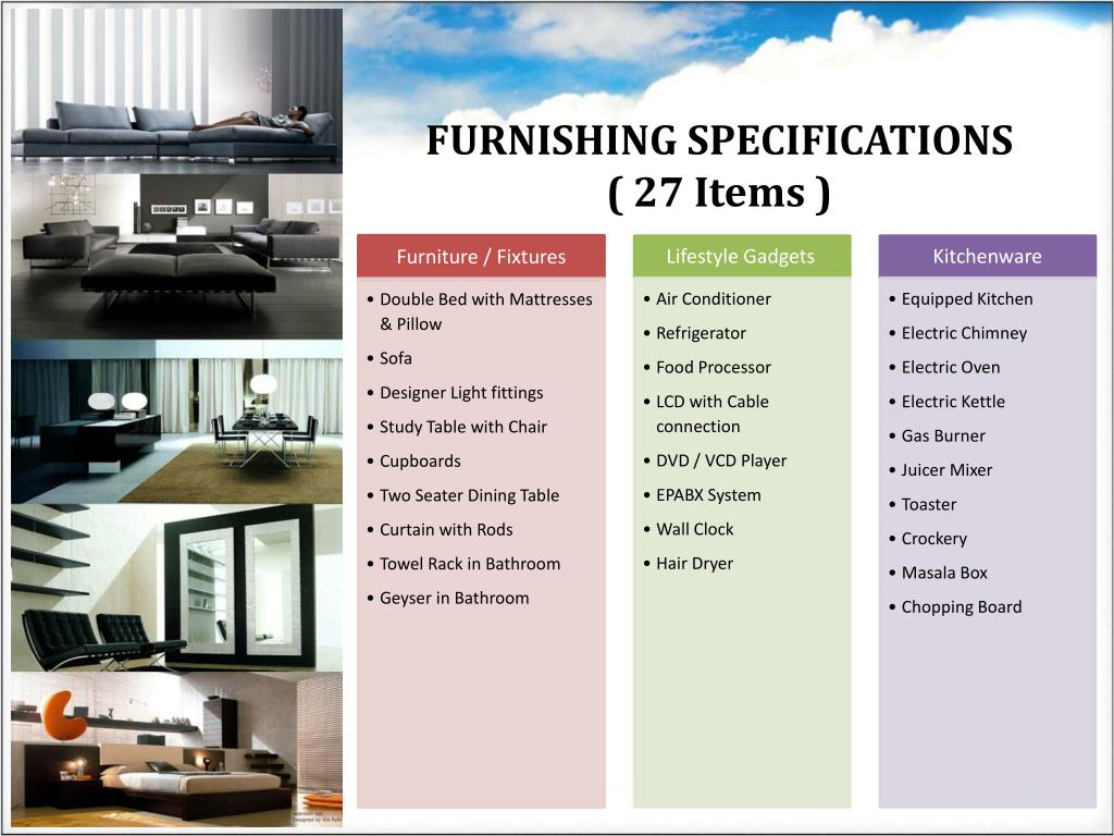 FURNISHING SPECIFICATIONS