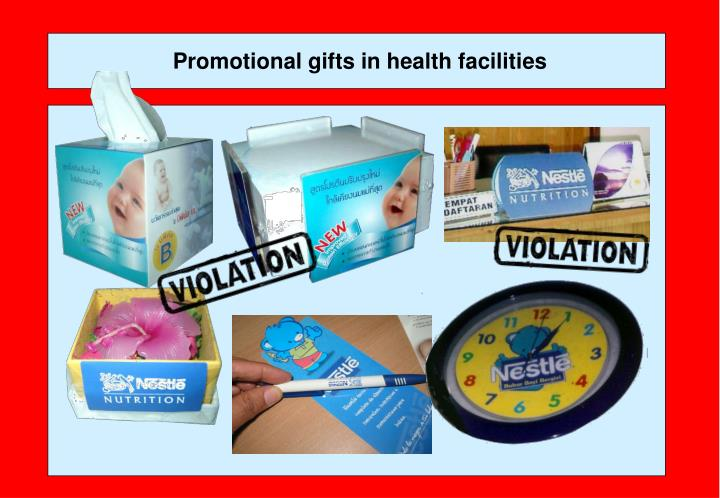 Promotional gifts in health facilities