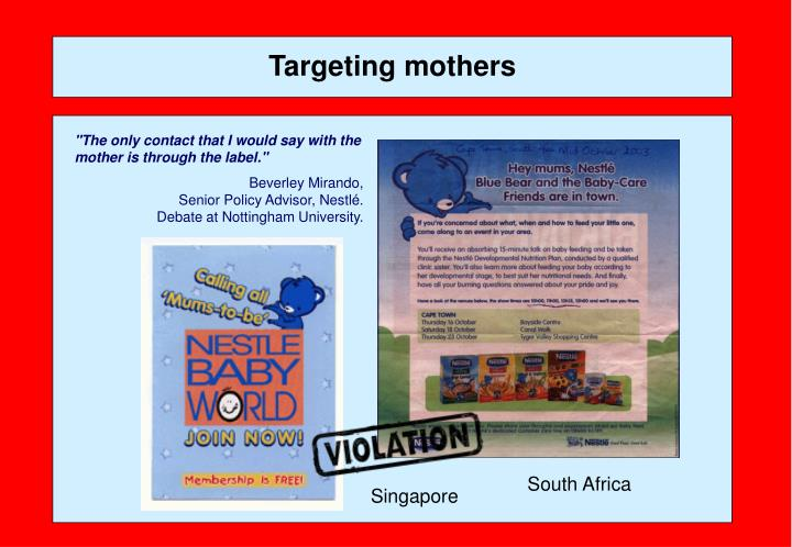 Targeting mothers