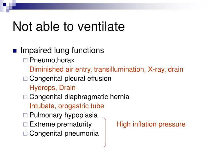 Not able to ventilate
