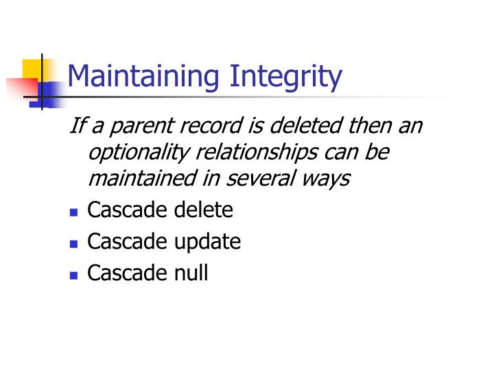 Maintaining Integrity