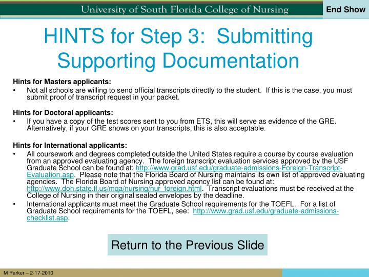 HINTS for Step 3:  Submitting Supporting Documentation