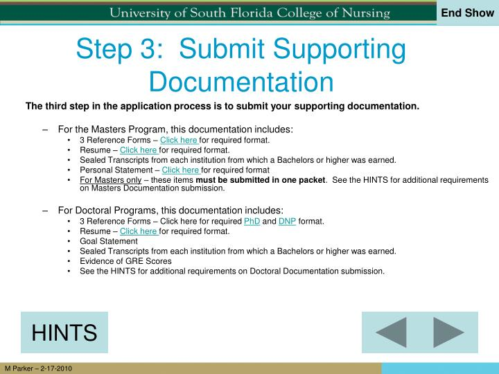 Step 3:  Submit Supporting Documentation