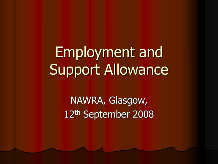 employment and support allowance n.