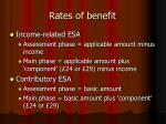 rates of benefit