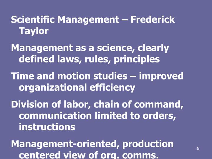 scientific management theory Scientific management theory is a theory of industrial administration that aims to increase productivity by application of scientific principles to all aspects of work, worker and workplace f w taylor had worked as a machinist.