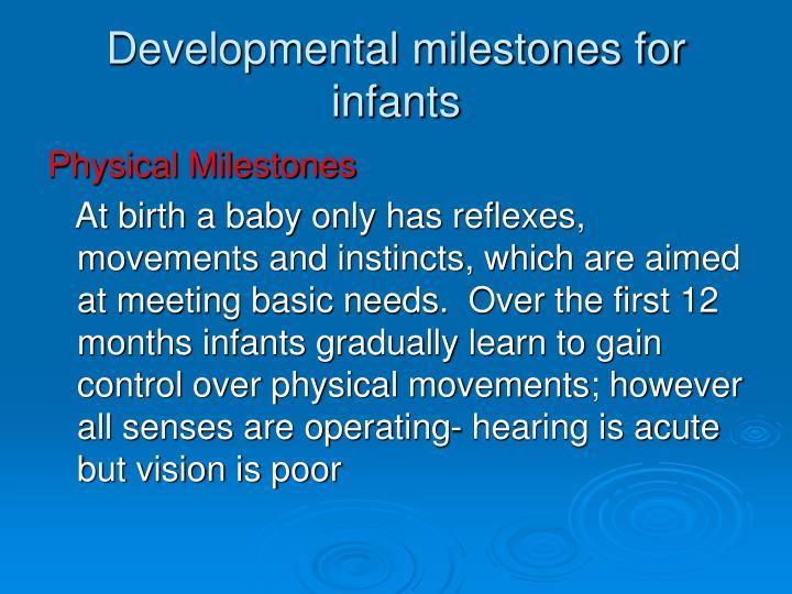 Developmental milestones for infants