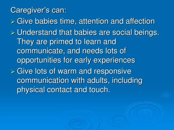Caregiver's can: