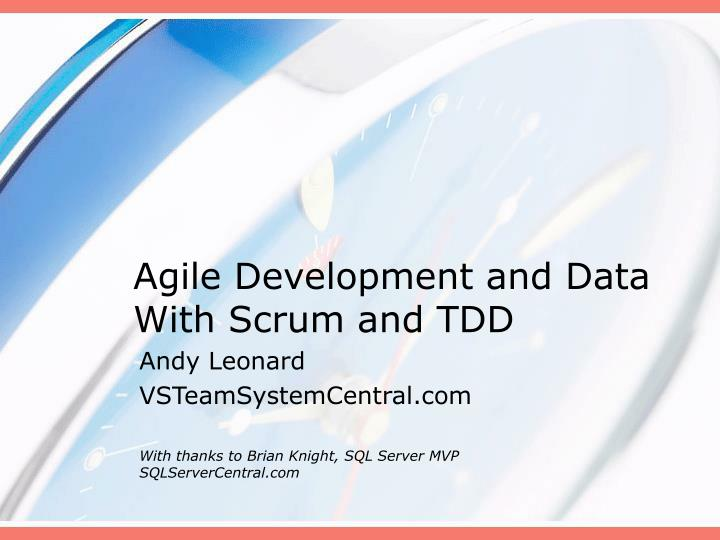 agile development and data with scrum and tdd n.
