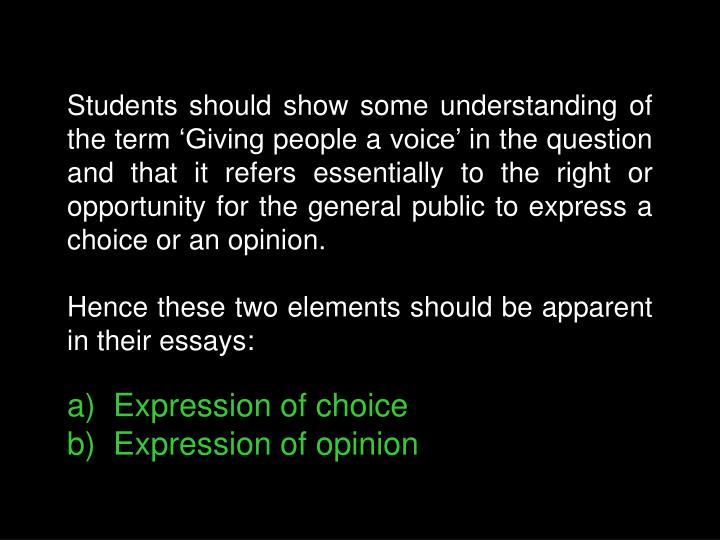 Students should show some understanding of the term 'Giving people a voice' in the question and that it refers essentially to the right or opportunity for the general public to express a choice or an opinion.