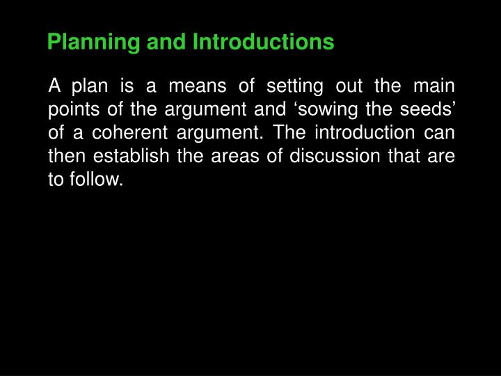 Planning and Introductions