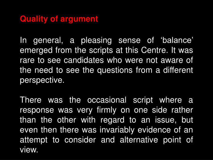 Quality of argument