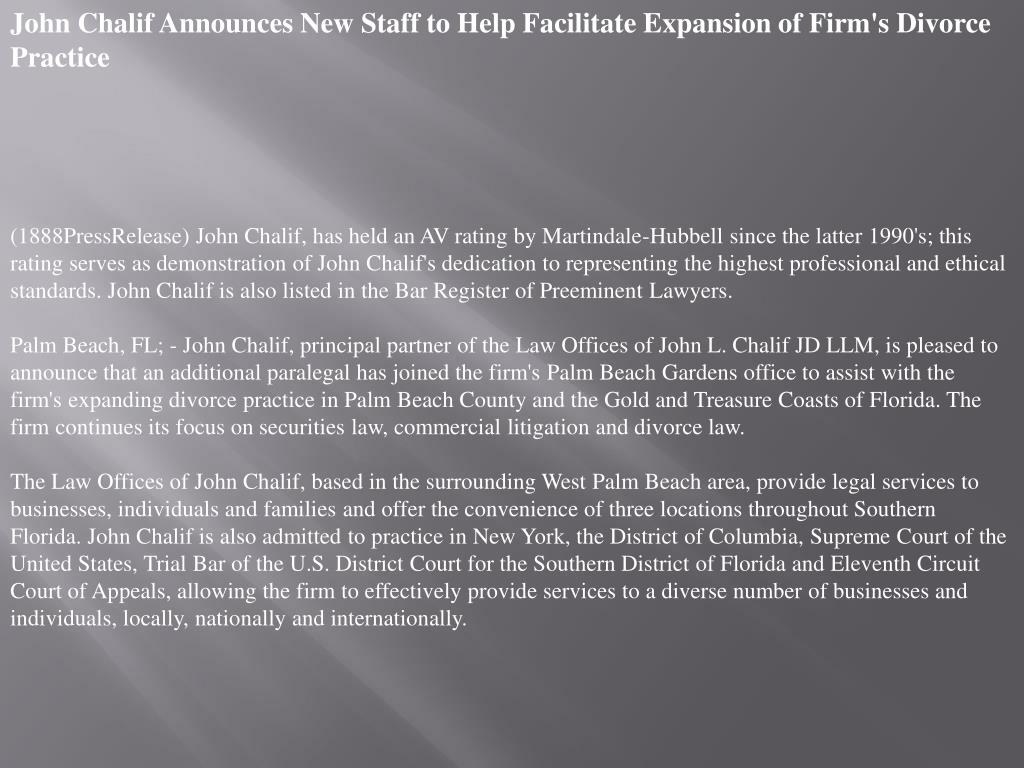 John Chalif Announces New Staff to Help Facilitate Expansion of Firm's Divorce Practice