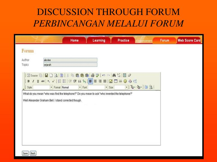 DISCUSSION THROUGH FORUM