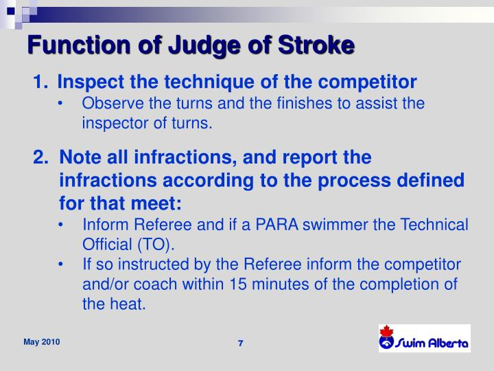 Function of Judge of Stroke