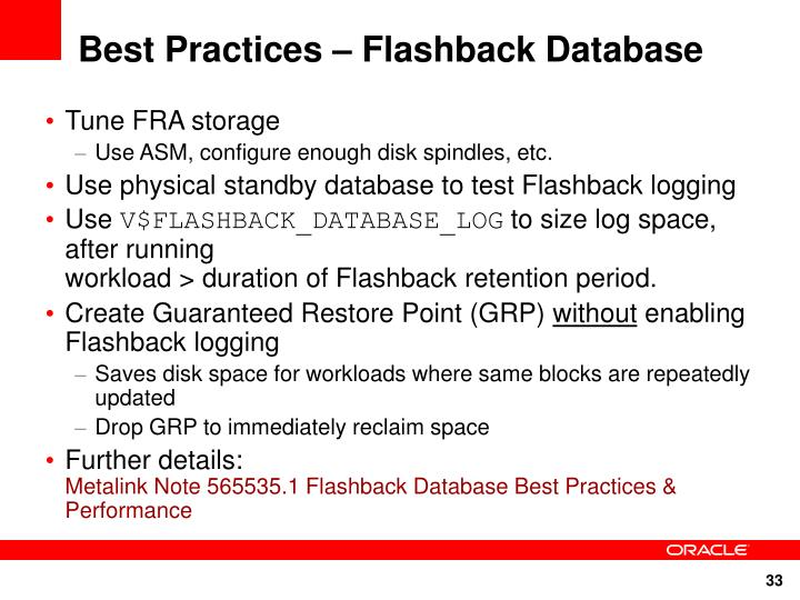 Best Practices – Flashback Database