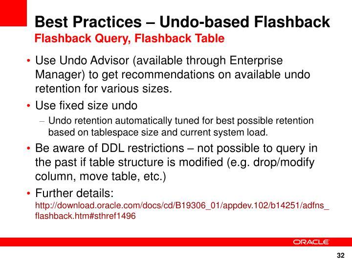 Best Practices – Undo-based Flashback