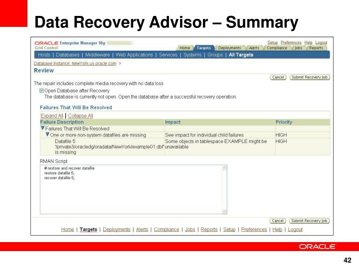 Data Recovery Advisor – Summary