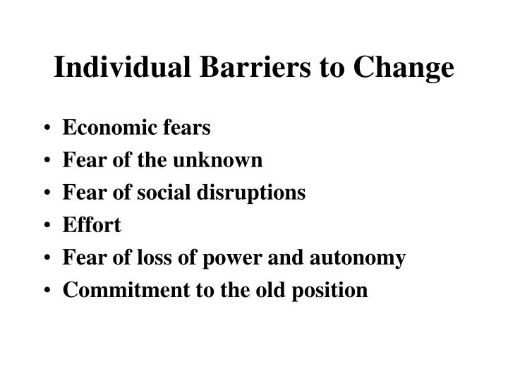 Individual Barriers to Change