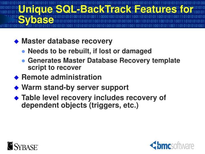 Unique SQL-BackTrack Features for Sybase