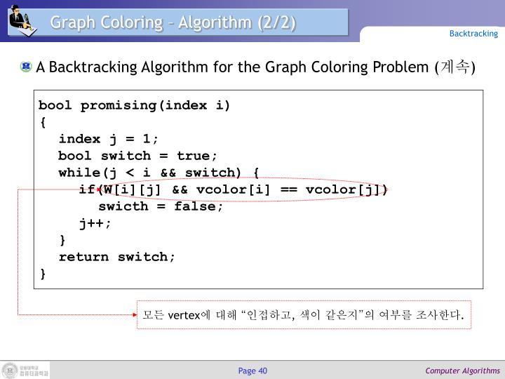 Graph Coloring – Algorithm (2/2)