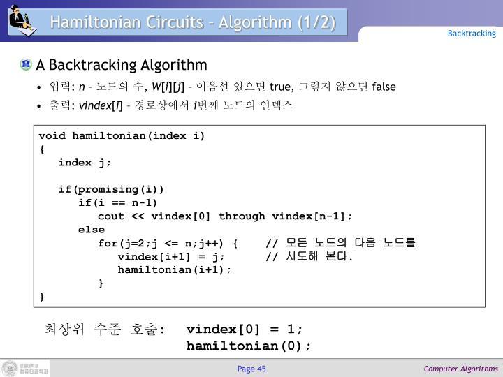 Hamiltonian Circuits – Algorithm (1/2)