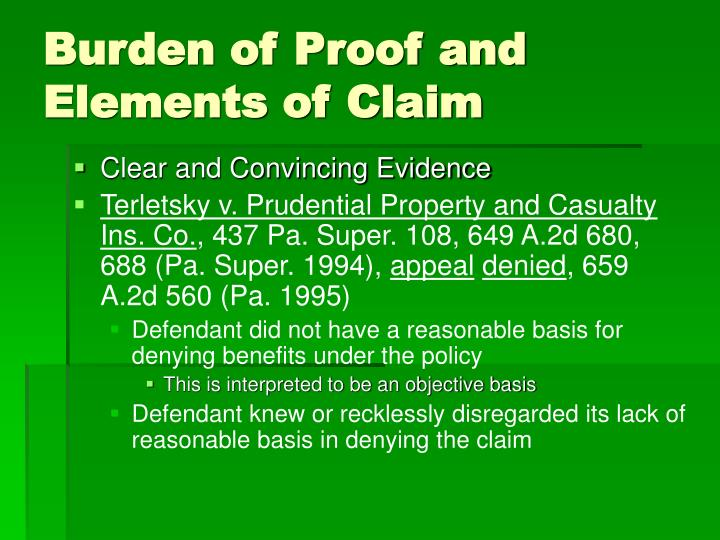 Burden of Proof and Elements of Claim