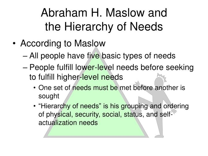 abraham maslow and his hierarchy of needs The american psychologist abraham h maslow, considered one of the leading architects of humanistic psychology, proposed a hierarchy of needs or drives in order of decreasing priority or potency but increasing sophistication: physiological needs, safety, belongingness and love, esteem, and self-actualization.