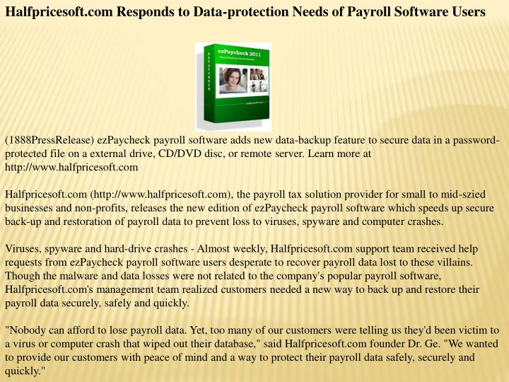Halfpricesoft.com Responds to Data-protection Needs of Payroll Software Users