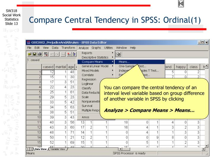 Compare Central Tendency in SPSS: Ordinal(1)