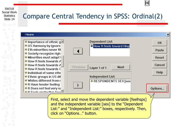Compare Central Tendency in SPSS: Ordinal(2)