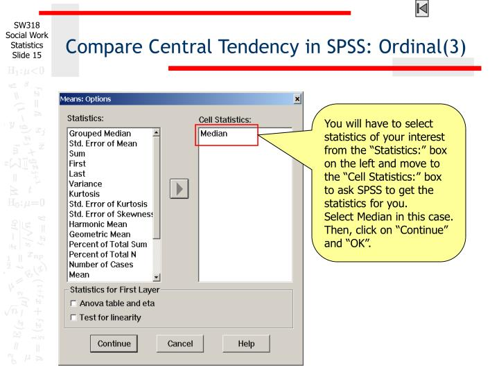 Compare Central Tendency in SPSS: Ordinal(3)