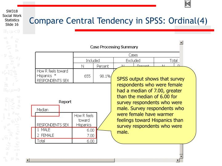 Compare Central Tendency in SPSS: Ordinal(4)