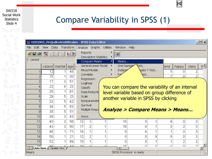 Compare Variability in SPSS (1)